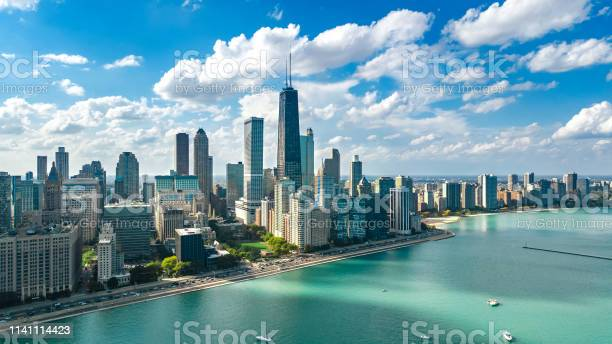 Photo of Chicago skyline aerial drone view from above, lake Michigan and city of Chicago downtown skyscrapers cityscape, Illinois, USA