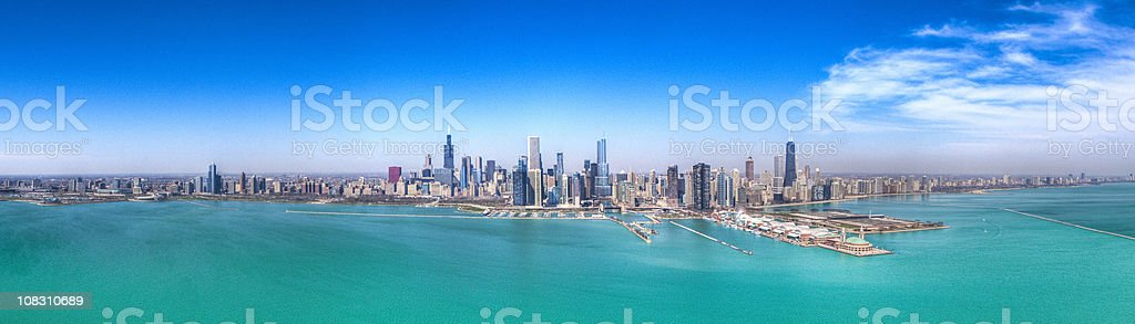 Chicago Skyline, Aerial HDR Panorama stock photo