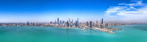 Chicago Skyline, Aerial HDR Panorama stock photo