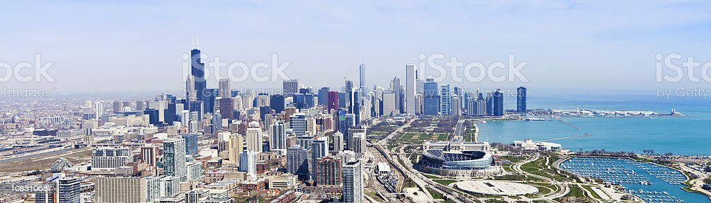 Chicago Skyline, Aerial Panorama stock photo