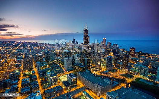 istock Chicago skyline aerial view at dusk 473002508