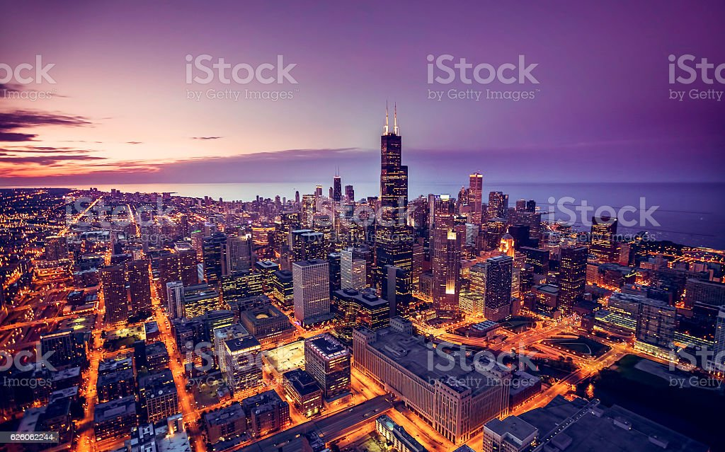 Chicago skyline aerial view at dusk royalty-free stock photo