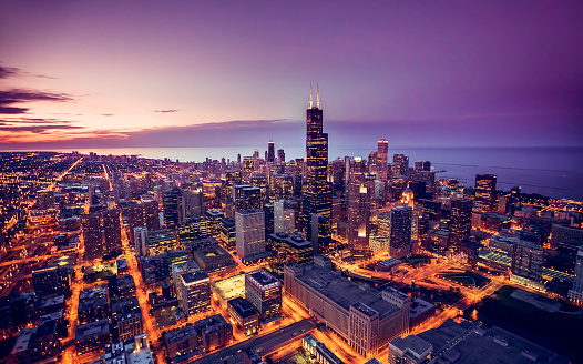 Chicago Skyline Aerial View At Dusk Stock Photo - Download Image Now