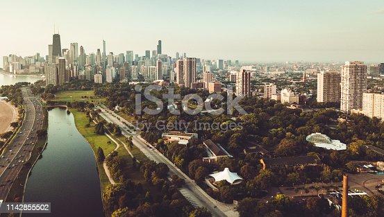 852738732istockphoto chicago skyline aerial view 1142855502