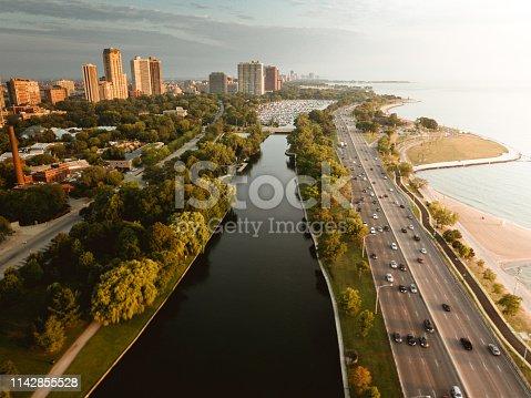 852738732istockphoto chicago skyline aerial view 1142855528