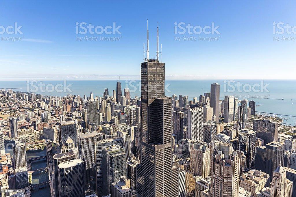 Chicago skyline aerial view stock photo