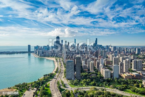 istock Chicago Skyline aerial view 511665488