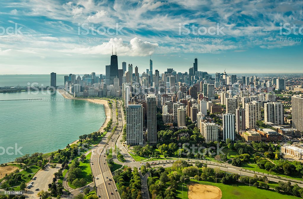 Chicago Skyline aerial view royalty-free stock photo