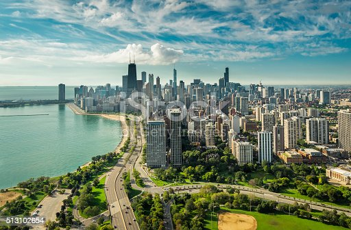 istock Chicago Skyline aerial view 513102654