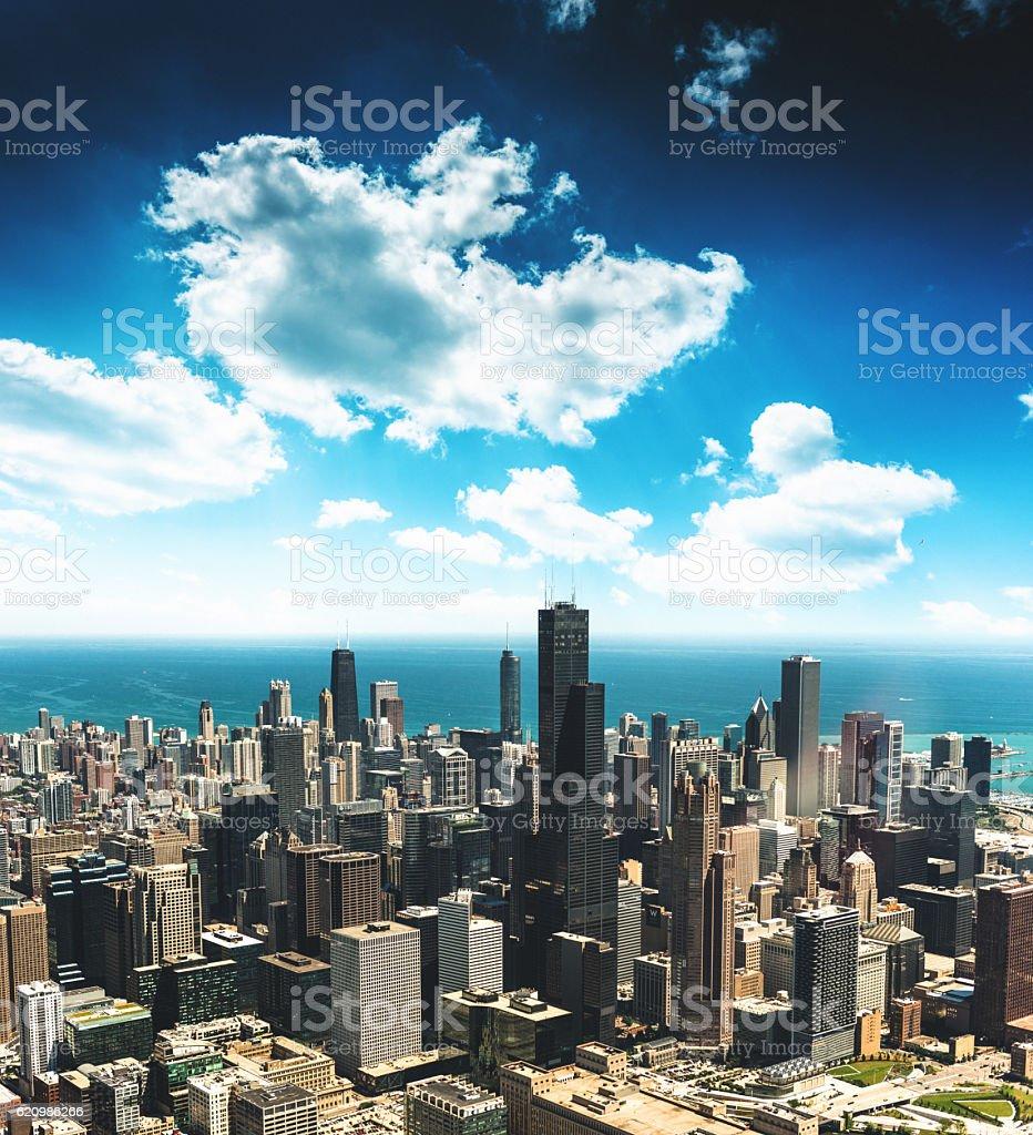 Vista aérea do horizonte de Chicago foto royalty-free
