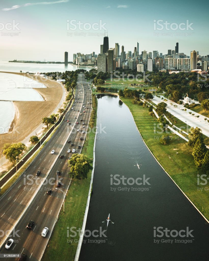 chicago skyline aerial view stock photo
