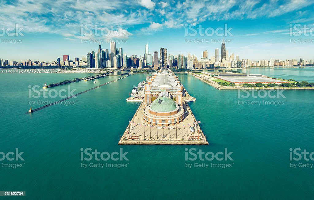 Chicago Skyline aerial view with Navy Pier stock photo