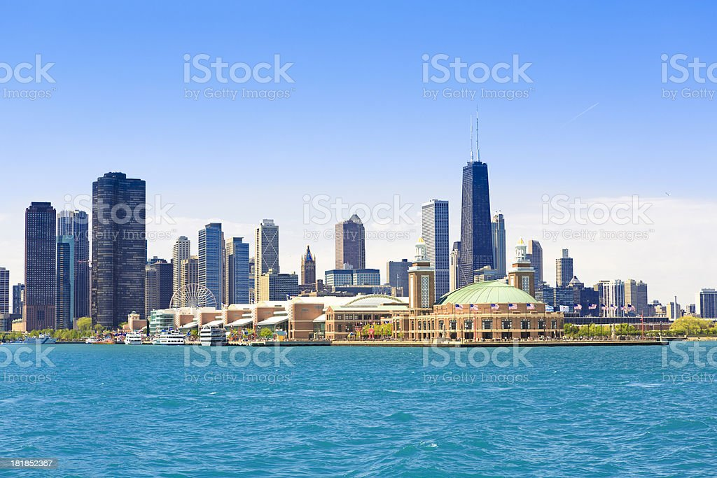 Chicago skyline and Navy Pier stock photo