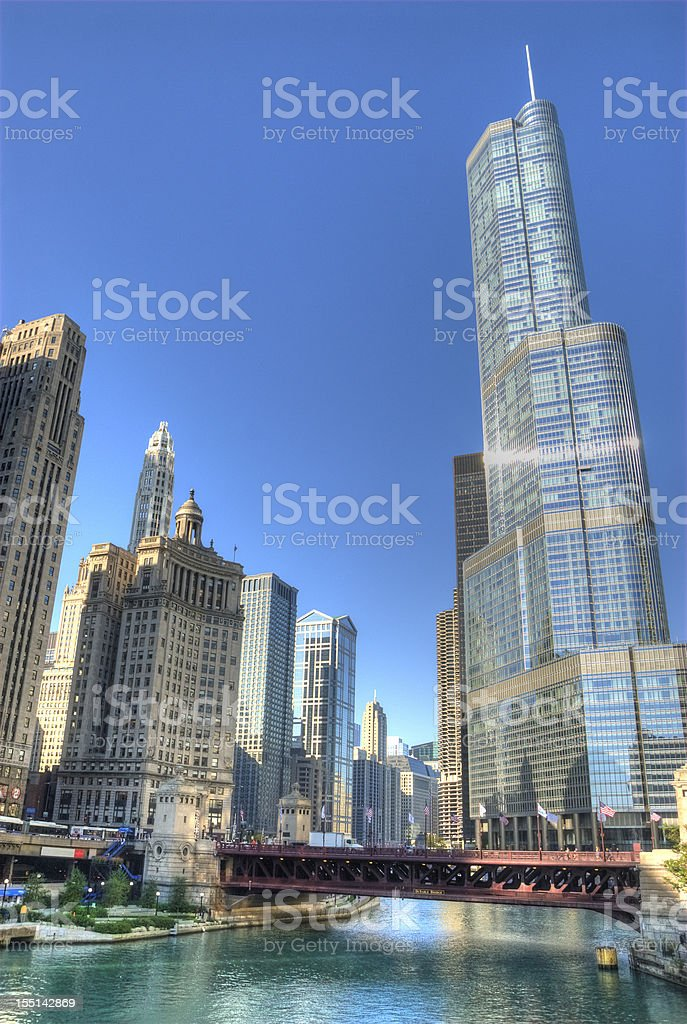 Chicago Skyline and River with Trump Tower stock photo