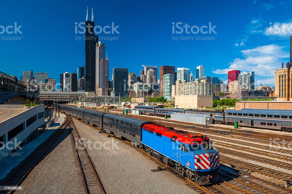 Chicago skyline and trains stock photo