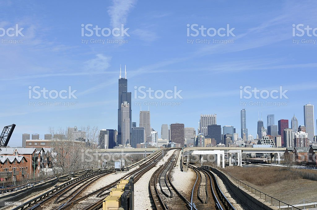 Chicago Skyline and Train-track royalty-free stock photo