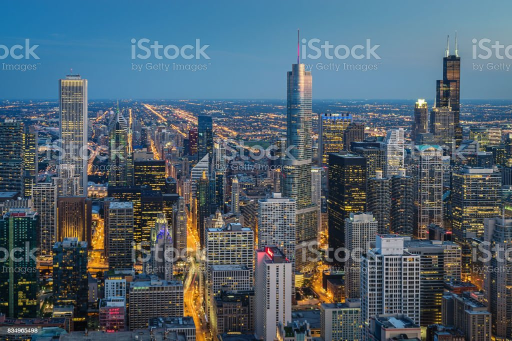 Chicago Skyline at Night Aerial View stock photo
