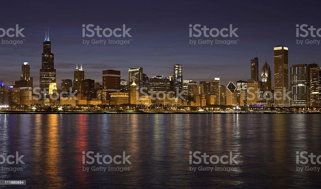 Chicago Skyline at Night royalty-free stock photo