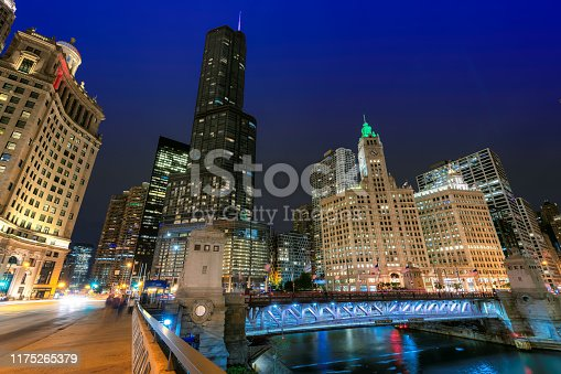Panoramic view of Chicago Downtown at night, Michigan Avenue, Chicago, Illinois, USA.
