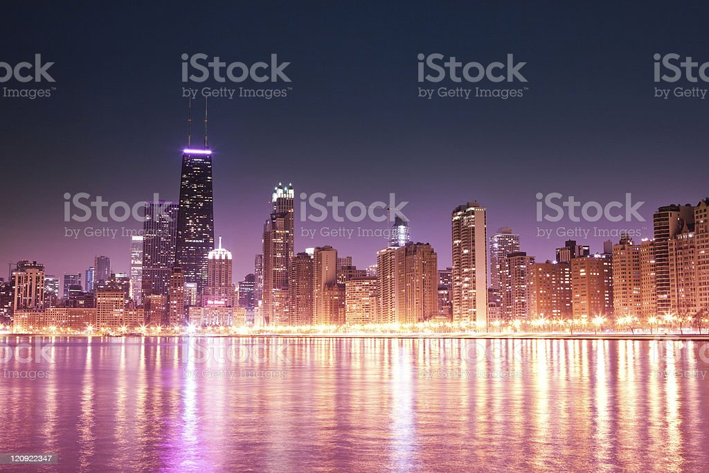 Chicago skyline at night - Royalty-free Architecture Stock Photo