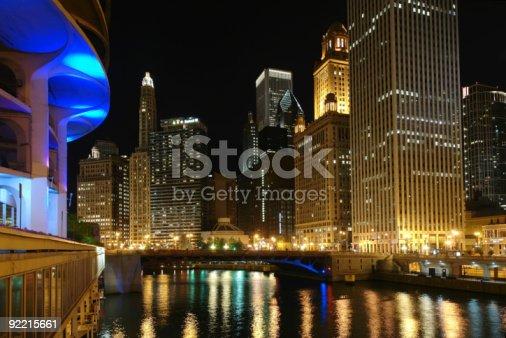 483312814 istock photo Chicago skyline at night reflecting on water 92215661