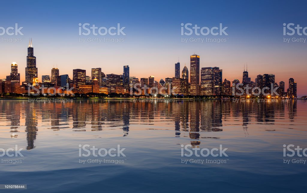 Chicago Skyline at sunset from the Observatory stock photo