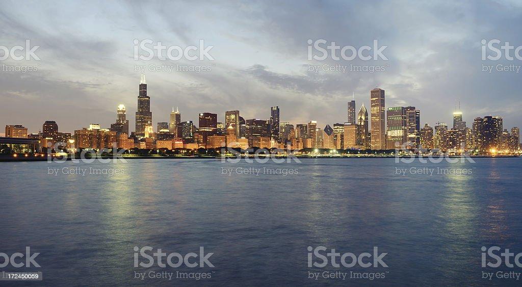 Chicago Skyline at Sunset royalty-free stock photo