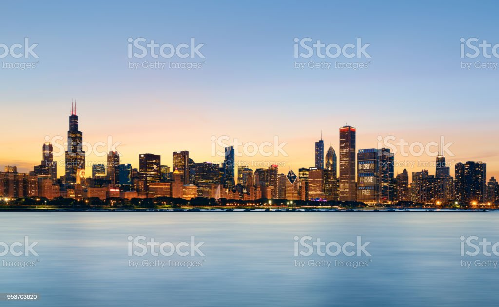 Chicago skyline at sunset stock photo