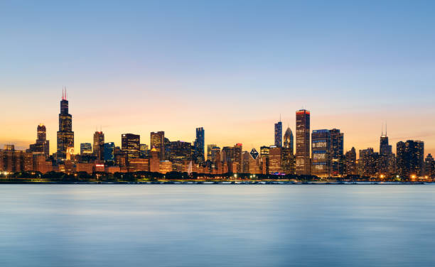 chicago skyline at sunset - skyline stock photos and pictures