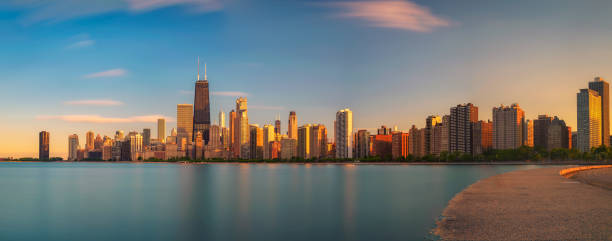 Chicago skyline at sunset viewed from North Avenue Beach stock photo
