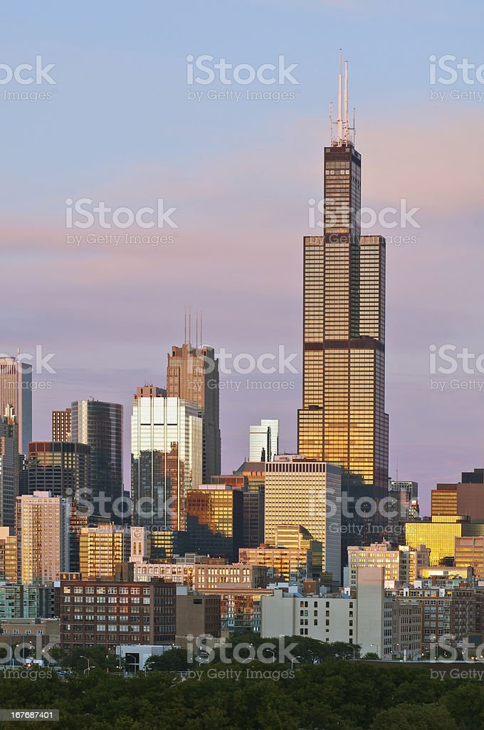 Chicago skyline at twilight. stock photo
