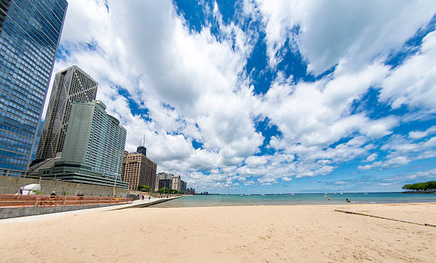 Chicago Skyline & Beach stock photo