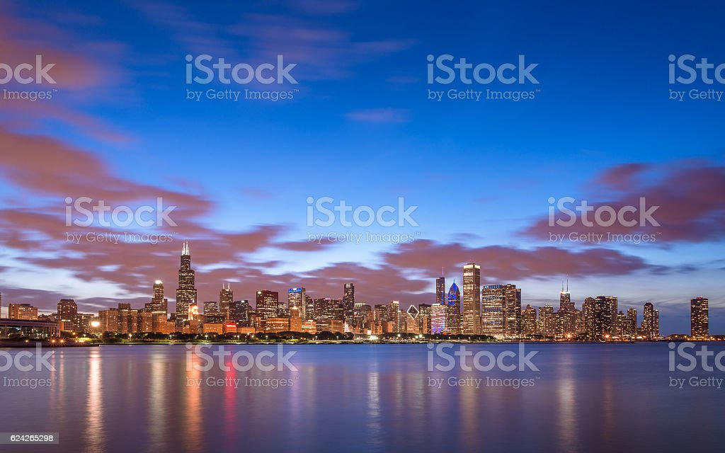 Chicago skyline behind Lake Michigan stock photo
