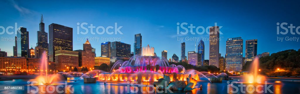 Chicago Skyline Buckingham Fountain  Panorama at Night stock photo