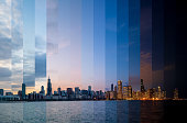 Day to night transition of Chicago cityscape from Adler Planetarium - Feb 2020