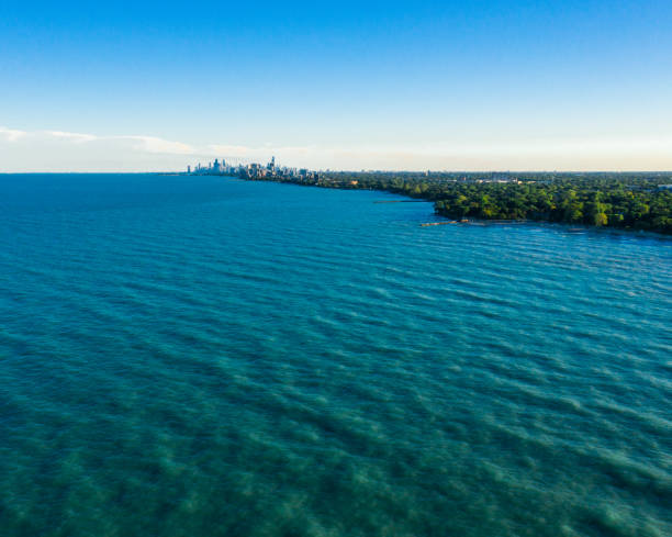 chicago skyline - far aerial view - lake michigan stock pictures, royalty-free photos & images