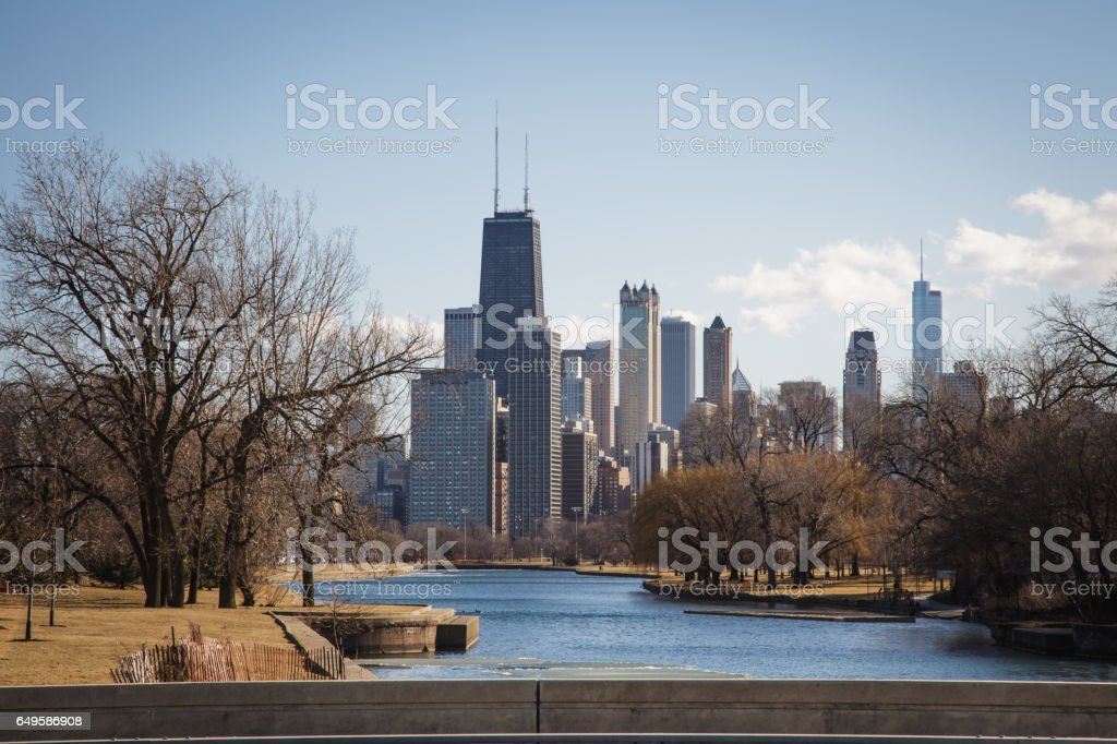 Chicago Skyline from Lincoln Park stock photo