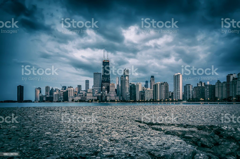 Chicago Skyline from North Ave Beach stock photo