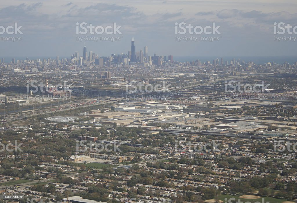 Chicago skyline from the air stock photo