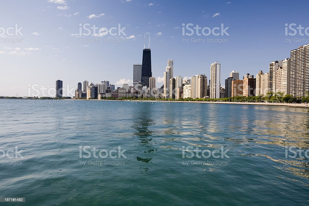 Chicago Skyline from The Lake royalty-free stock photo