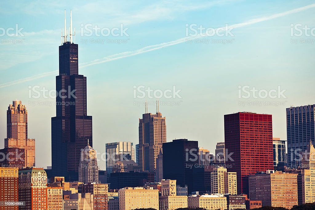 Chicago skyline in morning stock photo
