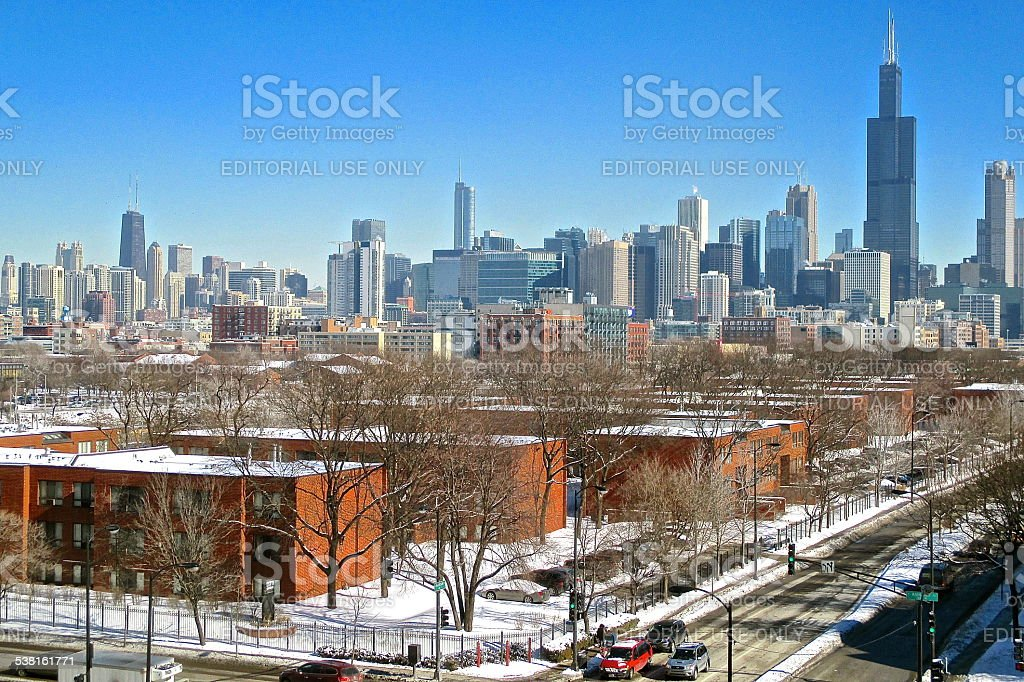 Chicago skyline in winter view from west of downtown stock photo