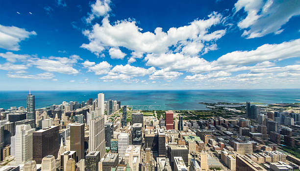 Chicago Skyline Lake Michigan stock photo