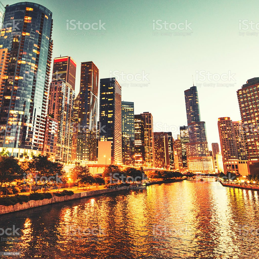 Chicago skyline on lakefront stock photo