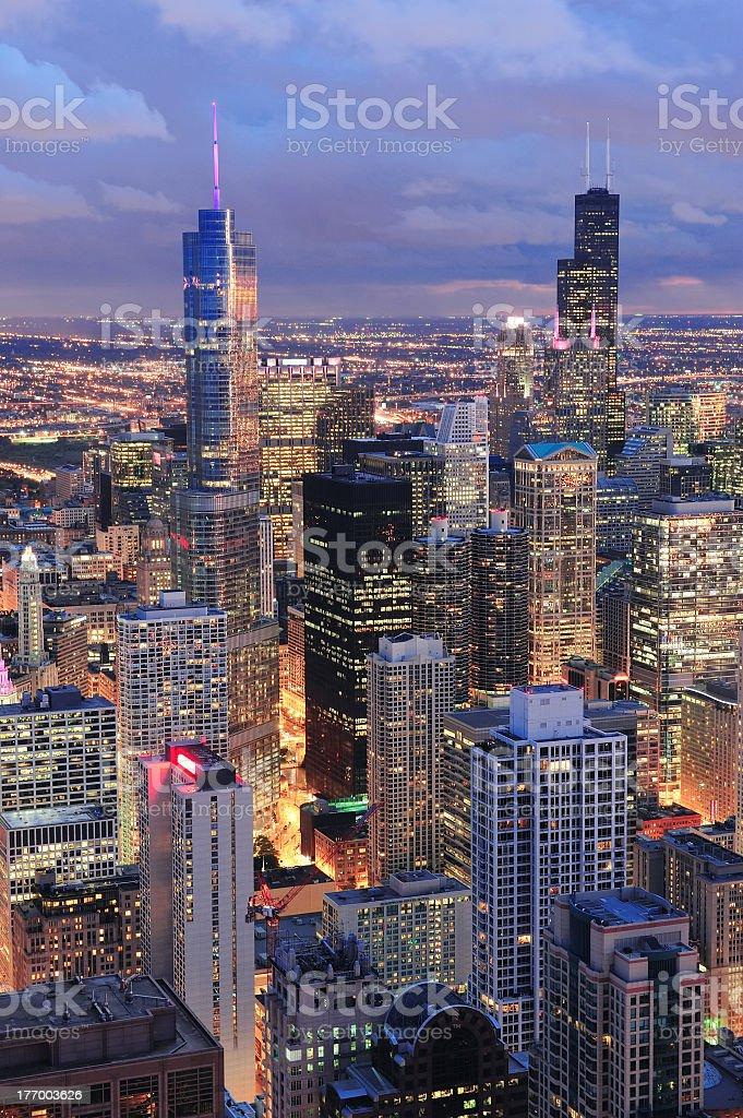 Chicago skyline panorama aerial view stock photo
