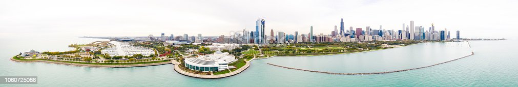 Aerial panoramic view of the skyline of the city of Chicago, Illinois, USA.