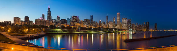 chicago skyline panorama - lakeshore stock photos and pictures