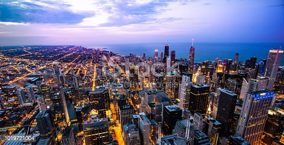 Night view of Chicago downtown skyline, shoot on Willis Tower Skydeck