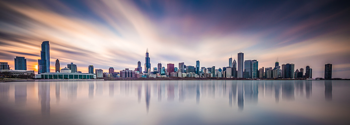 Chicago skyline during the sunset.
