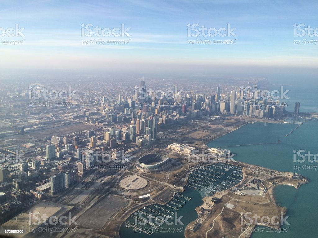 Chicago Skyline Taken from a Lear Jet Aerial View Stock Photo